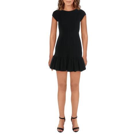 Rebecca Taylor Womens Honeycomb Flounce Dress Cap Sleeve A-Line - Black