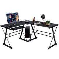 Costway L-Shape Computer Desk PC Wood Laptop Table Workstation Corner Home Office Black