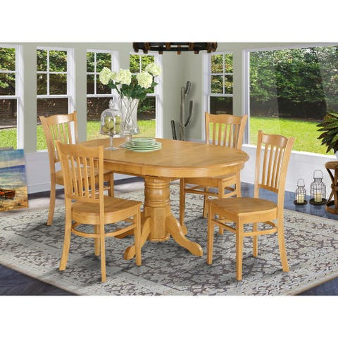 5-piece Dining Table Set For 4- Table with Leaf and 4 Dining Chairs - Oak