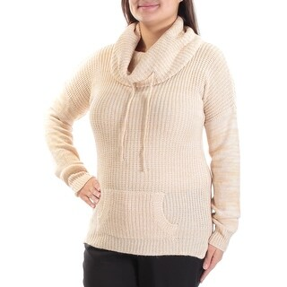 Womens Beige Long Sleeve Cowl Neck Casual Sweater Size XL