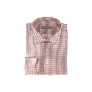 Canali Pink Gingham Formal Shirts