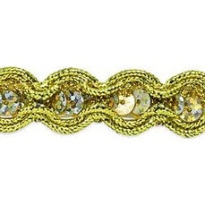 """Gold - River Sequin And Cord Trim 5/8""""X20yd"""