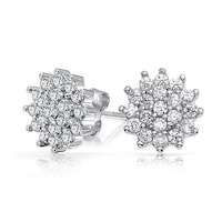 a8f7b610d Flower Crown Cubic Zirconia Pave CZ Cluster Stud Earrings For Women 925  Sterling Silver 10MM