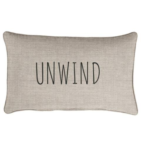 "Sunbrella Indoor/Outdoor Single Embroidered Pillow - ""Unwind"""