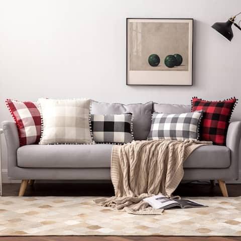 "Buffalo Check Pillow Covers Black and White Plaid Pom Pom Decorative Throw Pillow Covers 18"" x 18"""