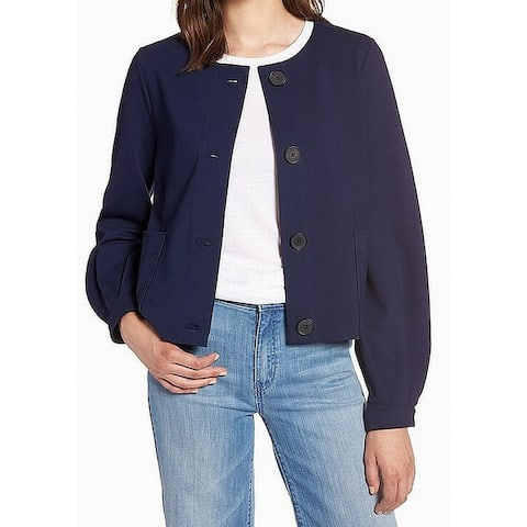 Halogen Womens Navy Textured Button Front Two Pocket Jacket