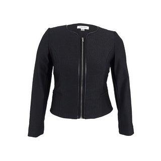 Calvin Klein Women's Petite Pleather-Trim Zip Ponte Blazer - Black/silver
