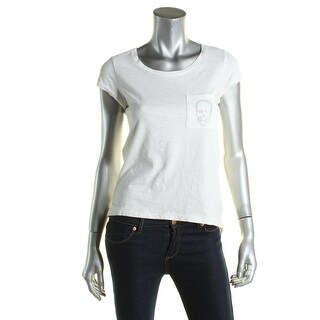 Aqua Womens T-Shirt Embellished Pocketed - m