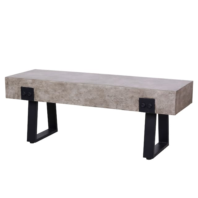 """Earth-D Outdoor Indoor Patio Concrete Style Bench - Seating Size: 48""""W x 15.75"""" D x 18"""" H"""