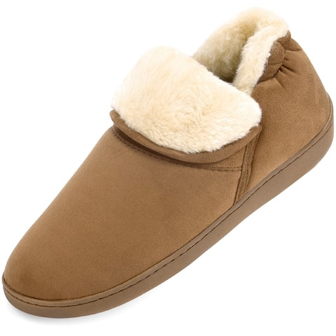 Men's Plush Warm Ankle Bootie Slippers Anti-Skid Indoor/Outdoor Boots