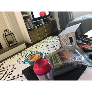 CosmoLiving Soft and Plush Geometric Moroccan Shag Tassel Area Rug