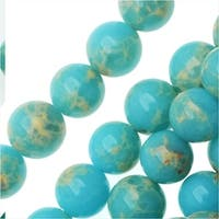 Impression Jasper Gemstone Beads, Round 6mm, 15 Inch Strand, Aqua Blue