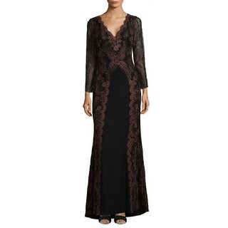 Tadashi Shoji V-Neck Embroidered Long Sleeve Evening Gown Dress - 8