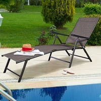 Costway Pool Chaise Lounge Chair Recliner Outdoor Patio Furniture Adjustable - Tan