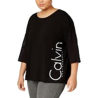 Calvin Klein Performance Womens Plus Pullover Top Printed Logo