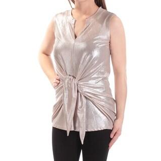 Womens Gold Sleeveless V Neck Top Size M