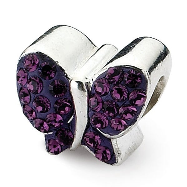 Sterling Silver Reflections Purple Swarovski Elements Butterfly Bead (4mm Diameter Hole)