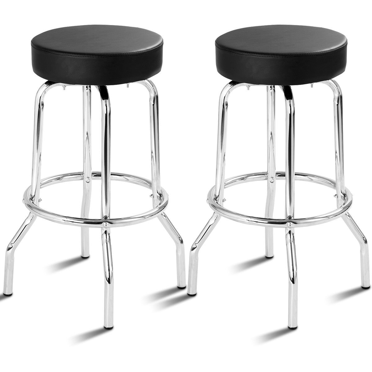 Home Set of 20 Lennox Backless Leather Counter Stool Black Home ...