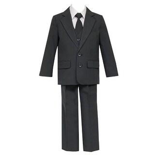 Big Boys Charcoal 5 Pcs Shirt Vest Jacket Tie Pants Suit