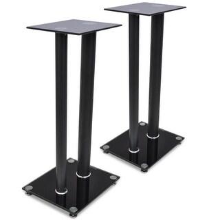 vidaXL 2 pcs Glass Speaker Stand (Each with Black Pillars)