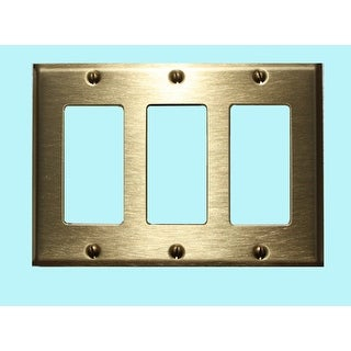 Switchplate Brushed Solid Brass Triple GFI