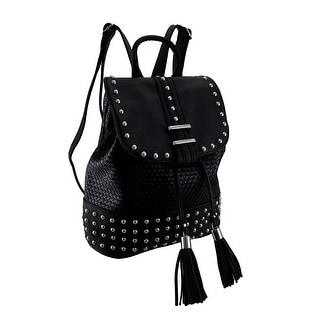 Weaved Finish Studded Black Conceal & Carry Drawstring Tassel Backpack
