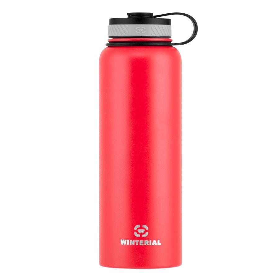 Winterial 40 oz Stainless Steel Insulated Double Walled Wide Mouth HOT & COLD Premium Water Bottle (RED) - Thumbnail 0