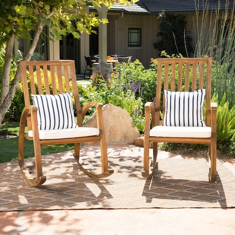 Cayo Outdoor Acacia Wood Rocking Chair with Water Resistant Cushions (Set of 2) by Christopher Knight Home