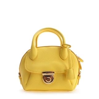 Salvatore Ferragamo Ginny Leather Clutch Handbag - Yellow - M