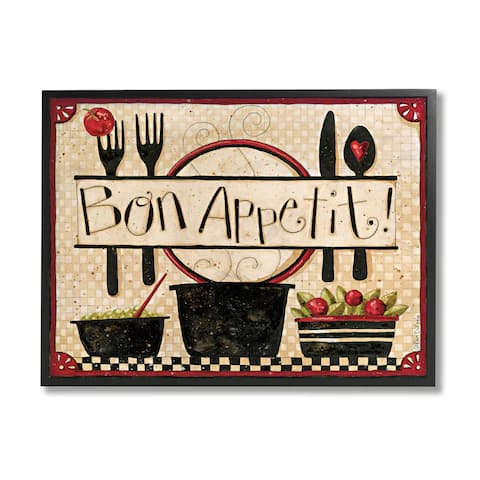 Stupell Industries Bon Appetit Phrase Vintage Kitchen Cooking Charm Framed Wall Art - Black