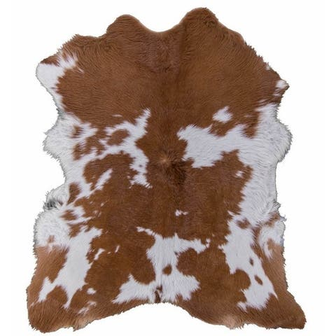 Brown and white camel calfskin rug - 6x7