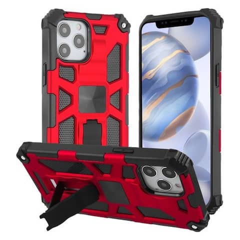 """For Apple iPhone 12 Pro (6.1"""") Red Sturdy Candy Hard TPU Hybrid Plastic Case"""