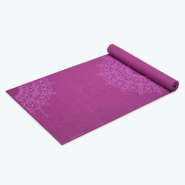 Shop Gaiam Premium Medallion Printed Yoga Mats 4mm Purple 68 X 24 Overstock 18038884