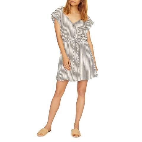 Sanctuary Womens T-Shirt Dress Striped Tie Waist - Black-White