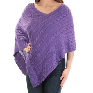 RALPH LAUREN $99 Womens New 1215 Purple V Neck Sleeveless PONCHO Sweater 2XS B+B