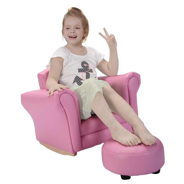 Costway Pink Kids Sofa Armrest Chair Couch Childrens Living Room ...