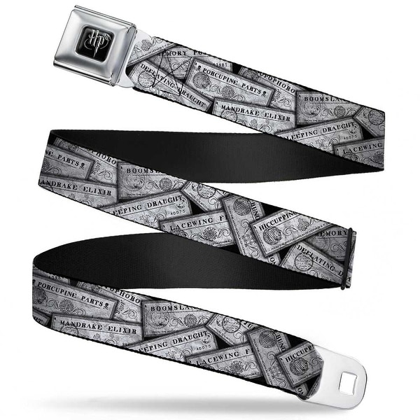 Harry Potter Logo Full Color Black White Harry Potter Potion Labels Webbing Seatbelt Belt