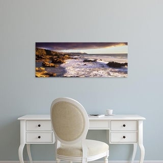 Easy Art Prints Panoramic Images's 'Rocks on the beach, Whitsand Bay, Cornwall, England' Premium Canvas Art