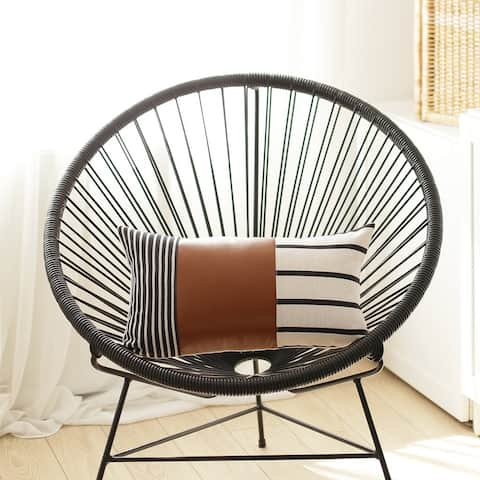 Geometric Brown Faux Leather and Stripes Lumbar Pillow Cover