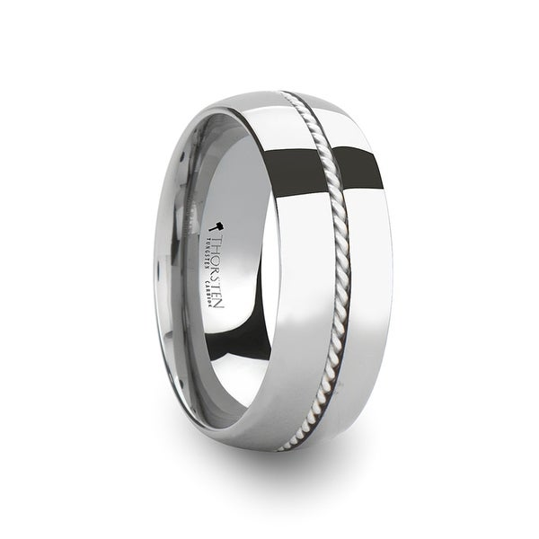 THORSTEN - LYON Braided Silver Inlay Domed Tungsten Ring
