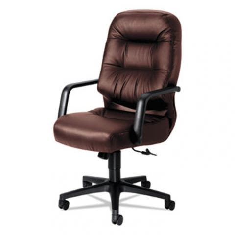 Pillow-Soft 2090 Series Executive High-Back Swivel/Tilt Chair, Supports Up To 300 Lbs., Burgundy Seat/Back, Black Base