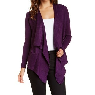 Sweet Romeo NEW Purple Women's Size Large L Ribbed Cardigan Sweater
