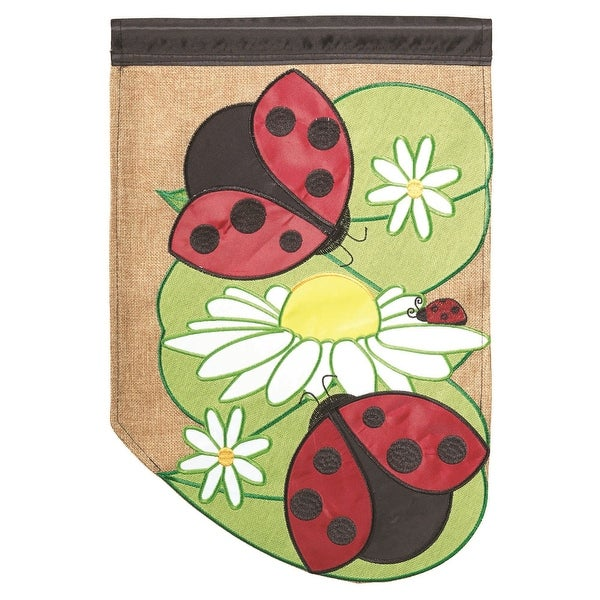 """Green, Red and Brown Lady Bug Garden Flag 13"""" x 18"""" - N/A"""