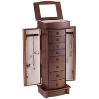 Costway Jewelry Cabinet Armoire Storage Chest Box Stand Organizer Wood Christmas Gift - walnut