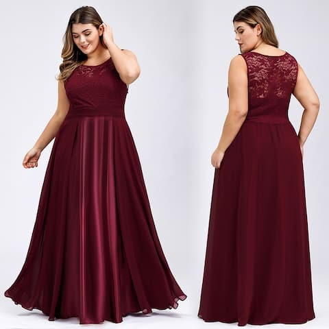 Ever-Pretty Womens Plus Size Lace Chiffon Formal Evening Party Dress 76952