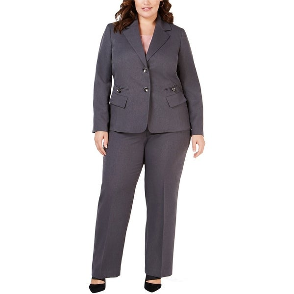 Le Suit Womens Button Front Two Button Blazer Jacket, Grey, 18W. Opens flyout.