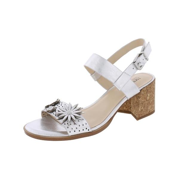 IMNYC Isaac Mizrahi Womens Franchesca Dress Sandals Metallic Block Heel