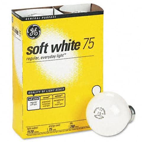 GE 41032-48 75-Watt A19, Soft White 4 Bulbs Per Pack - Soft White