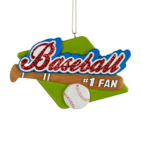 "4"" Red Glitter #1 Baseball Fan Sports Christmas Ornament"