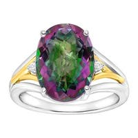 7 1/4 ct Natural Green Mystic Topaz Ring with Diamonds in Sterling Silver & 14K Gold